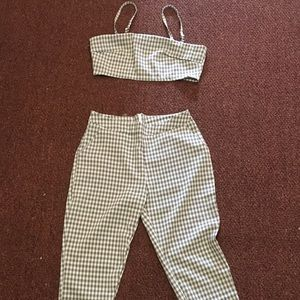 Pants - 2-piece high wasted plaid set